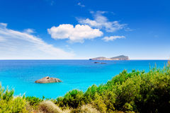 Plage de blanca Ibiza d'Agua d'Aiguas Blanques Photo stock