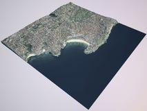 Plage de Bondi, ville de Sydney, vue satellite l'australie illustration stock