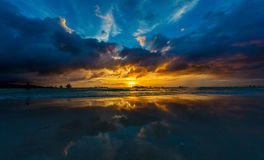 Plage de Boracay de coucher du soleil Photographie stock