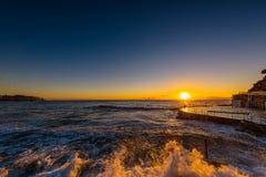 Plage de Bronte au lever de soleil Photo stock