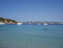 Plage de Cala Bassa, Ibiza Photos stock
