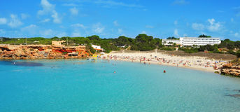 Plage de Cala Saona à Formentera, Îles Baléares, Espagne Image libre de droits