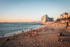 Plage de Caleta Abarca au coucher du soleil - Vina del Mar, Chili photos stock
