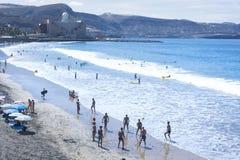 Plage de Canteras dans mamie Canaria Espagne Photographie stock libre de droits
