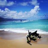 Plage de cerf-volant chez Kanaha, Maui Image libre de droits