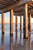 Plage de Coney Island au coucher du soleil photographie stock