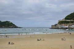 Plage de conque de La chez San Sebastian Pais Basque Spain photo stock