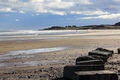 Plage de Cresswell, le Northumberland, Angleterre photos libres de droits