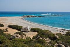 Plage de Gialiskari près de Palaiochora, côte de sud-ouest d'île de Crète photographie stock libre de droits