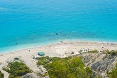 PLAGE de GIALOS, LEUCADE, le 26 juin 2017, îles ioniennes, Leucade, Grèce, vue aérienne photographie stock
