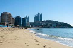 Plage de HaeUnDae à Busan en Corée Photo libre de droits