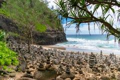 Plage de Hanakapiai - Kauai photographie stock libre de droits