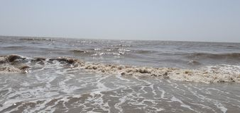 Plage de Jampore, daman, Goudjerate, Inde images libres de droits