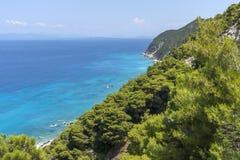 Plage de Kokkinos Vrachos, Leucade, îles ioniennes Images libres de droits