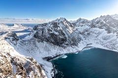 Plage de Kvalvika sur les îles de Lofoten en Norvège photo stock