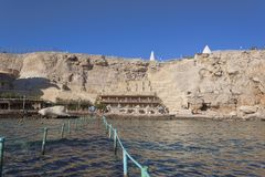 Plage de l'hôtel de plage de rêves dans le Sharm el Sheikh Photographie stock
