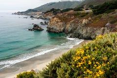 Plage de la Californie le long de route de Côte Pacifique Images stock