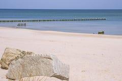 Plage de la mer baltique, Pologne avec des aines Photos stock