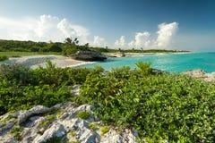 Plage de la mer des Caraïbes au Mexique Photographie stock libre de droits
