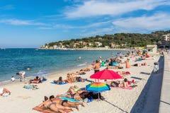 Plage de la Salis, Antibes, ` Azur, Francia de Cote D Imágenes de archivo libres de regalías