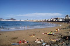 Plage de Las Canteras photo stock