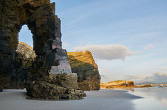Plage de Las Catedrales, Ribadeo, Espagne Photos stock