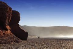 Plage de Legzira au Maroc, Afrique Image stock