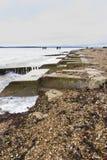 Plage de Lepe – le site de lancement pour la mûre de WWII héberge. Image stock