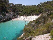 Plage de Macarelleta dans Menorca Images stock