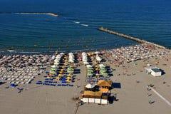 Plage de Mamaia sur la côte de la Mer Noire Image libre de droits
