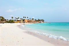 Plage de Manchebo sur l'île d'Aruba dans les Caraïbe Image libre de droits