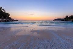 Plage de marbre de Saliara de plage, îles de Thassos, Grèce Photographie stock
