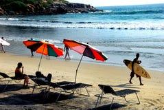 Plage de mer de Kovalam du Kerala image stock