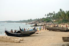 Plage de mer de Kovalam, au Kerala, l'Inde photos stock