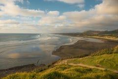 Plage de Muriwai, côte occidentale de région d'Auckland, Nouvelle-Zélande Photos libres de droits