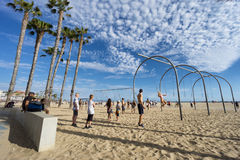 Plage de muscle en Santa Monica, LOS ANGELES Photos stock
