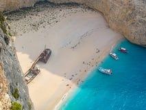 Plage de naufrage de plage de Navagio, île de Zakynthos, Grèce Photographie stock libre de droits