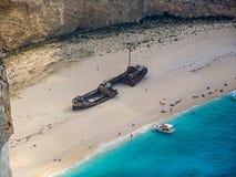 Plage de naufrage de plage de Navagio, île de Zakynthos, Grèce Photographie stock