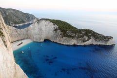 Plage de Navagio, île de Zakynthos, Grèce photo libre de droits