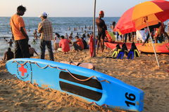 Plage de Negombo en Sir Lanka Photos stock