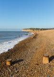 Plage de niveau de Pett près de bois de Fairlight, Hastings East Sussex Angleterre R-U image libre de droits