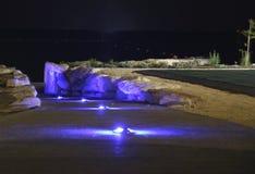 Plage de nuit de la Chypre, vue de mer photos libres de droits
