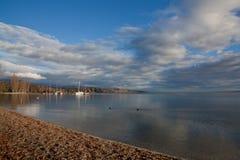 Plage de Nyon, lac Genève Photo libre de droits