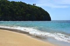 Plage de paradis dans les Caraïbe avec de l'eau le sable d'or et bleu Images stock