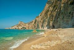 Plage de paradis près de Liapades, occidental de l'île de Corfou, Grèce photo stock
