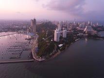 Plage de Pattaya de vue aérienne en Thaïlande Images libres de droits