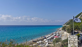 Plage de Pefkoulia, Leucade, Grèce photos stock