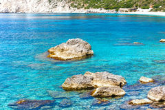 Plage de Petani (Kefalonia, Grèce) Photo stock