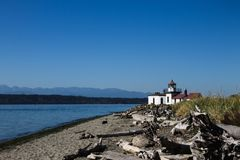 Plage de phare de West Point image libre de droits