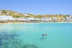 Plage de Platis Gialos, Mykonos, Grèce Image stock